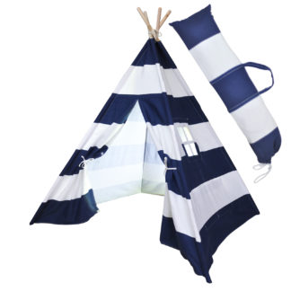 navy striped teepee Tent with case web
